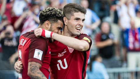 COMMERCE CITY, CO - JUNE 8:  Christian Pulisic #10 of United States celebrates his first goal with DeAndre Yedlin #2 of United States during the World Cup Qualifier match between the United States and Trinidad & Tobago at Dick's Sporting Goods Park on June 8, 2017 in Commerce City, Colorado.  The United States won the match 2-0 (Photo by Shaun Clark/Getty Images)