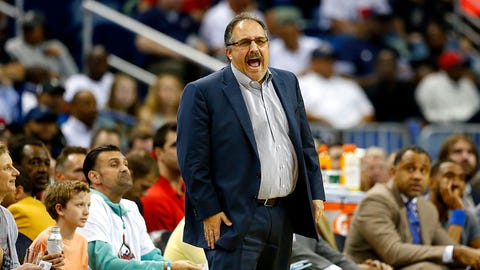 NEW ORLEANS, LA - MARCH 01:  Stan Van Gundy of the Detroit Pistons stands on the court during a game against the New Orleans Pelicans at the Smoothie King Center on March 1, 2017 in New Orleans, Louisiana. NOTE TO USER: User expressly acknowledges and agrees that, by downloading and or using this photograph, User is consenting to the terms and conditions of the Getty Images License Agreement.  (Photo by Sean Gardner/Getty Images)