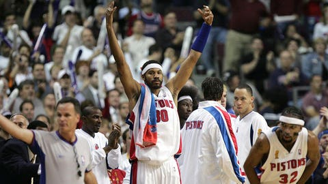 AUBURN HILLS, MI - JUNE 10: Rasheed Wallace #30 of the Detroit Pistons celebrates against the Los Angeles Lakers in Game three of the 2004 NBA Finals on  June 10, 2004 at The Palace of Auburn Hills in Auburn Hills, Michigan.  NOTE TO USER: User expressly acknowledges and agrees that, by downloading and or using this photograph, User is consenting to the terms and conditions of the Getty Images License Agreement.  Mandatory Copyright Notice: Copyright 2004 NBAE  (Photo by Jesse D. Garrabrant/NBAE via Getty Images)