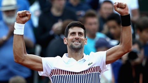 PARIS, FRANCE - JUNE 04:  Novak Djokovic of Serbia celebrates victory in his mens singles fourth round match against Albert Ramos-Vinolas of Spain  on day eight of the 2017 French Open at Roland Garros on June 4, 2017 in Paris, France.  (Photo by Julian Finney/Getty Images)