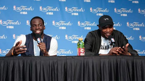 OAKLAND, CA - JUNE 4:  Draymond Green #23 and Kevin Durant #35 of the Golden State Warriors discusses with the media Game Two of the 2017 NBA Finals on June 4, 2017 at ORACLE Arena in Oakland, California. NOTE TO USER: User expressly acknowledges and agrees that, by downloading and or using this photograph, User is consenting to the terms and conditions of the Getty Images License Agreement. Mandatory Copyright Notice: Copyright 2017 NBAE (Photo by Jack Arent/NBAE via Getty Images)