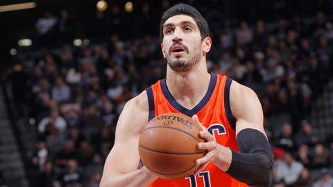 SACRAMENTO, CA - JANUARY 15: Enes Kanter #11 of the Oklahoma City Thunder attempts a free-throw shot against the Sacramento Kings on January 15, 2017 at Golden 1 Center in Sacramento, California. NOTE TO USER: User expressly acknowledges and agrees that, by downloading and or using this photograph, User is consenting to the terms and conditions of the Getty Images Agreement. Mandatory Copyright Notice: Copyright 2017 NBAE (Photo by Rocky Widner/NBAE via Getty Images)