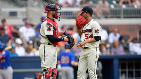 Jun 11, 2017; Atlanta, GA, USA; Atlanta Braves catcher Tyler Flowers (25) and starting pitcher Jaime Garcia (54) talk in a game against the New York Mets during the third inning at SunTrust Park. Mandatory Credit: Dale Zanine-USA TODAY Sports