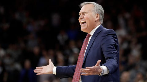 Houston Rockets head coach Mike D'Antoni reacts to play against the San Antonio Spurs during overtime of Game 5 in a second-round NBA basketball playoff series, Tuesday, May 9, 2017, in San Antonio. San Antonio won 110-107. (AP Photo/Eric Gay)