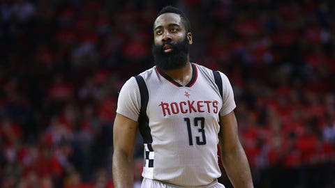 HOUSTON, TX - MAY 11:  James Harden #13 of the Houston Rockets looks on against the San Antonio Spurs during Game Six of the NBA Western Conference Semi-Finals at Toyota Center on May 11, 2017 in Houston, Texas.  NOTE TO USER: User expressly acknowledges and agrees that, by downloading and or using this photograph, User is consenting to the terms and conditions of the Getty Images License Agreement.  (Photo by Ronald Martinez/Getty Images)
