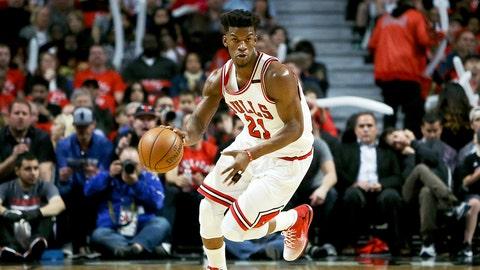 CHICAGO, IL - APRIL 12:  Jimmy Butler #21 of the Chicago Bulls dribbles the ball in the second quarter against the Brooklyn Nets at United Center on April 12, 2017 in Chicago, Illinois. NOTE TO USER: User expressly acknowledges and agrees that, by downloading and or using this photograph, User is consenting to the terms and conditions of the Getty Images License Agreement. (Photo by Dylan Buell/Getty Images)