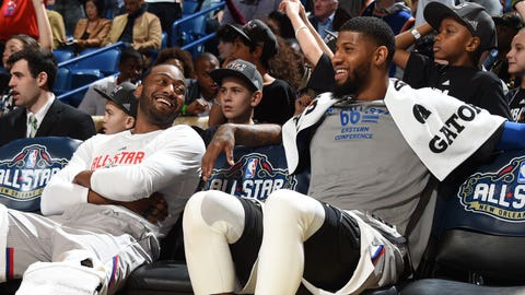 NEW ORLEANS, LA - FEBRUARY 19:  John Wall #2 and Paul George #11 of the Eastern Conference All-Star Team during the NBA All-Star Game as part of the 2017 NBA All Star Weekend on February 19, 2017 at the Smoothie King Center in New Orleans, Louisiana.  NOTE TO USER: User expressly acknowledges and agrees that, by downloading and or using this Photograph, user is consenting to the terms and conditions of the Getty Images License Agreement.  Mandatory Copyright Notice: Copyright 2017 NBAE (Photo by Andrew D. Bernstein/NBAE via Getty Images)