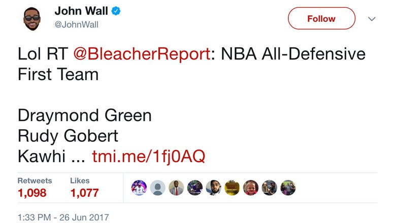 John Wall's response to not making either NBA All-Defensive Team: 'Lol'