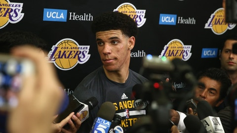 EL SEGUNDO, CA - JUNE 07:  NBA Prospect Lonzo Ball speaks with the media after a workout with the Los Angeles Lakers at Toyota Sports Center on June 7, 2017 in El Segundo, California.  NOTE TO USER: User expressly acknowledges and agrees that, by downloading and or using this photograph, User is consenting to the terms and conditions of the Getty Images License Agreement.  (Photo by Sean M. Haffey/Getty Images)