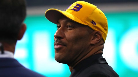 NEW YORK, NY - JUNE 22:  LaVar Ball, father of second overall pick Lonzo Ball of the Los Angeles Lakers, speaks to media during the first round of the 2017 NBA Draft at Barclays Center on June 22, 2017 in New York City. NOTE TO USER: User expressly acknowledges and agrees that, by downloading and or using this photograph, User is consenting to the terms and conditions of the Getty Images License Agreement.  (Photo by Mike Stobe/Getty Images)