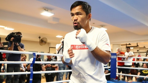BRISBANE, AUSTRALIA - JUNE 27:  Manny Pacquiao during a training session at Lang Park PCYC on June 27, 2017 in Brisbane, Australia.  (Photo by Chris Hyde/Getty Images)