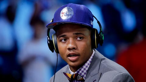 Washington's Markelle Fultz answers questions during an interview after being selected by the Philadelphia 76ers as the No. 1 pick overall during the NBA basketball draft, Thursday, June 22, 2017, in New York. (AP Photo/Frank Franklin II)
