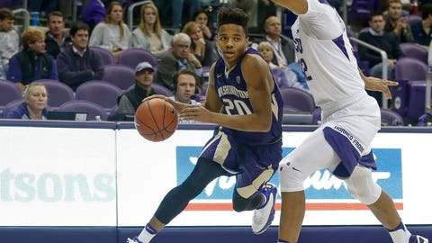 FORT WORTH, TX - NOVEMBER 30: Washington Huskies guard Markelle Fultz (20) drives to the basket during the NCAA Basketball game between the Washington Huskies and TCU Horned Frogs on November 30, 2016, at Ed & Rae Schollmaier Arena in Fort Worth, TX  (Photo by Andrew Dieb/Icon Sportswire via Getty Images)