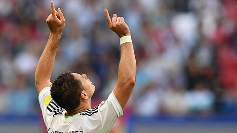 Mexico's forward Javier Hernandez celebrates after scoring a goal during the 2017 Confederations Cup group A football match between Portugal and Mexico at the Kazan Arena in Kazan on June 18, 2017. / AFP PHOTO / FRANCK FIFE        (Photo credit should read FRANCK FIFE/AFP/Getty Images)