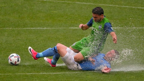 New York City FC midfielder Alexander Ring, right, picks the ball from Seattle Sounders midfielder Cristian Roldan. left, during the first half of a Major League Soccer game, Saturday, June 17, 2017, in New York. (AP Photo/Julie Jacobson)
