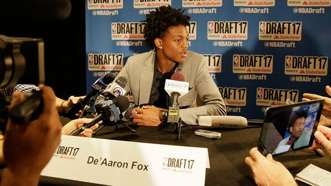 NEW YORK - JUNE 21: NBA Draft Prospect, De'Aaron Fox speaks to the media during media availability as part of the 2017 NBA Draft on June 21, 2017 at the Grand Hyatt New York in New York City. NOTE TO USER: User expressly acknowledges and agrees that, by downloading and/or using this photograph, user is consenting to the terms and conditions of the Getty Images License Agreement.  Mandatory Copyright Notice: Copyright 2017 NBAE (Photo by Steven Freeman/NBAE via Getty Images)