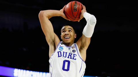 GREENVILLE, SC - MARCH 17:  Jayson Tatum #0 of the Duke Blue Devils dunks against the Troy Trojans in the first half during the first round of the 2017 NCAA Men's Basketball Tournament at Bon Secours Wellness Arena on March 17, 2017 in Greenville, South Carolina.  (Photo by Gregory Shamus/Getty Images)