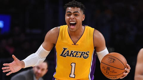 LOS ANGELES, CA - JANUARY 31:  D'Angelo Russell #1 of the Los Angeles Lakers reacts to a call in the second half of the game against the Denver Nuggets at Staples Center on January 31, 2017 in Los Angeles, California. Lakers won 120-116. NOTE TO USER: User expressly acknowledges and agrees that, by downloading and or using this photograph, User is consenting to the terms and conditions of the Getty Images License Agreement.  (Photo by Jayne Kamin-Oncea/Getty Images)