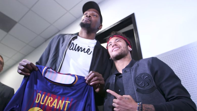 Neymar kicks it courtside with Lewis Hamilton at the NBA Finals, meets Kevin Durant & Draymond Green