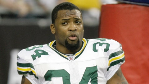 Green Bay Packers' Ahman Green is seen before the first half of an NFL wild-card playoff football game against the Arizona Cardinals Sunday, Jan. 10, 2010, in Glendale, Ariz. (AP Photo/Paul Connors)