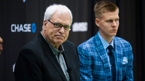 President Phil Jackson and Kristaps.  The New York Knicks introduce their first round draft picks Kristaps Porzingis and Jerian Grant at their training facility in Greenburgh NY.   Friday June 26, 2015. (Photo By: Corey Sipkin/NY Daily News via Getty Images)
