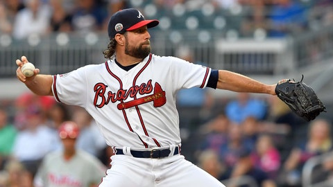 Jun 8, 2017; Atlanta, GA, USA; Atlanta Braves starting pitcher R.A. Dickey (19) pitches against the Philadelphia Phillies during the first inning at SunTrust Park. Mandatory Credit: Dale Zanine-USA TODAY Sports