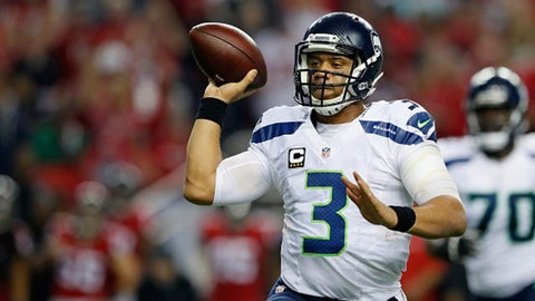 ATLANTA, GA - JANUARY 14:  Russell Wilson #3 of the Seattle Seahawks passes the ball agianst the Atlanta Falcons at the Georgia Dome on January 14, 2017 in Atlanta, Georgia.  (Photo by Kevin C. Cox/Getty Images)