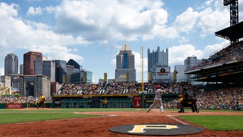 PITTSBURGH, PA - AUGUST 7: General view of the ball park and downtown skyline from field level as the Pittsburgh Pirates play against the Cincinnati Reds at PNC Park on August 7, 2016 in Pittsburgh, Pennsylvania. The Reds defeated the Pirates 7-3. (Photo by Joe Robbins/Getty Images) *** Local Caption ***