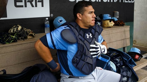 Charlotte Stone Crabs catcher Wilson Ramos (36) in the dugout before the start of the game between the Charlotte Stone Crabs and the Clearwater Threshers at Spectrum Field in Clearwater, Fla. on Monday, June 6, 2017. (Will Vragovic/The Tampa Bay Times via AP)