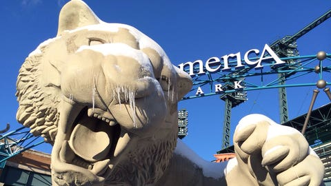 More snow business at Comerica Park