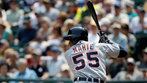 Marte hits first major-league home run, leads Tigers over Mariners
