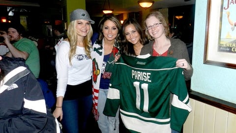 The FOX Sports North Girls and this fan are happy to have Captain America, Zach Parise, home from the Olympics.