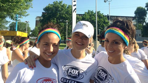 Angie, Kendall and Kaylin stick together during The Color Run MLB All-Star 5K.
