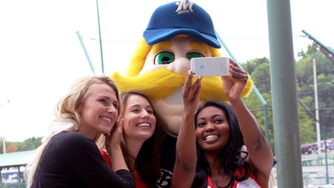 New profile pic? Bernie Brewer joined Bishara, Chyna and Sage at Brewers Social Media Night.