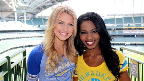 Miller Park is an awesome backdrop for the FOX Sports Wisconsin Girls promo shoot.