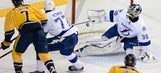 Martin St. Louis scores twice, but Lightning fall to Predators