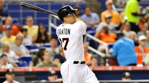 Honorable mention: Giancarlo Stanton, OF, Miami Marlins (.265/.346/.606, 27 HR, 67 RBI)