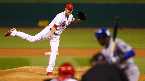 No. 4: Lackey delivers -- NLDS Game 3, Oct. 6