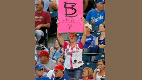 Cardinals fan at Kauffman Stadium in Kansas City