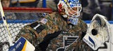 Blues rock awesome camo jerseys pregame for Salute to Military Night