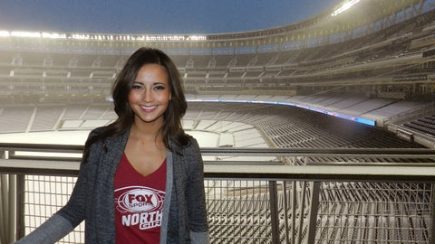 Angie hangs out at snow-covered Target Field.