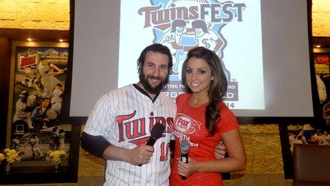Kaylin with Twins outfielder Darin Mastroianni