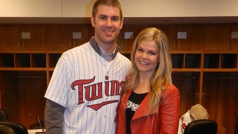 Twins catcher Joe Mauer with FOX Sports North Girl Kendall