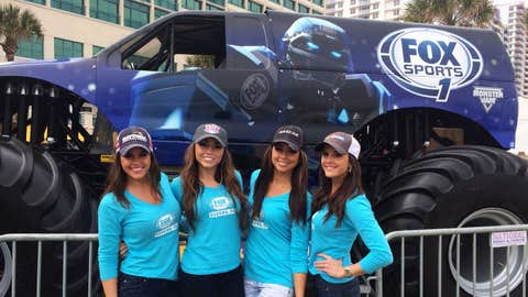 You don't realize just how tall the FOX Sports 1 monster truck is until you pose for a picture in front of it!