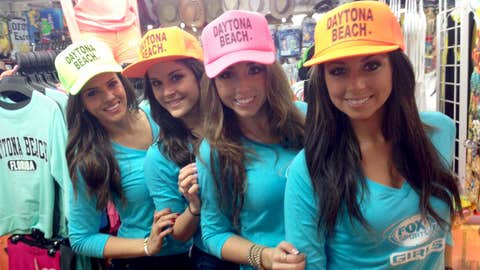 The FOX Sports Girls decked out in souvenir hats from Daytona Beach