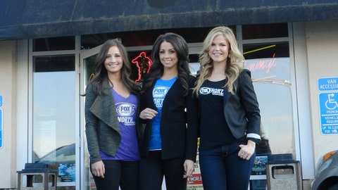 The FOX Sports North Girls at Jimmy's Food & Drink in Vadnais Heights. Getting excited to watch Kevin Love and the Wolves take on James Harden and the Houston Rockets.