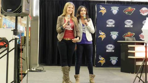 Kendall & Angie help kick off the Twins season from the Rotunda at Mall of America
