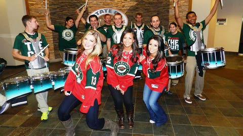 The River City Rhythm drumline keeps fans energy levels up off the ice, while the Wild take care of business on the ice.