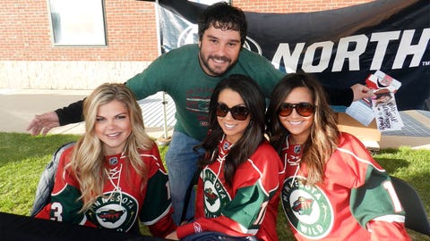 Posing with fans at the FOX Sports North tent.