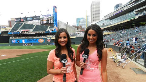 Angie & Kaylin do a little work on the field before the start of the Twins & Brewers game at Target Field.